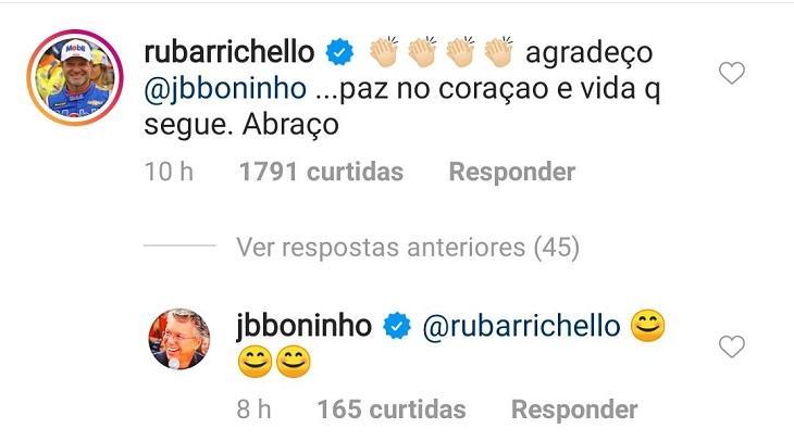"""Após piada, Boninho pede desculpas para Rubens Barrichello: \""""Respeito muito\"""""""