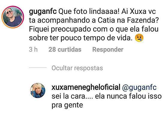 "\""A Fazenda\"": Catia Paganote revela ter pouco tempo de vida e Xuxa responde"