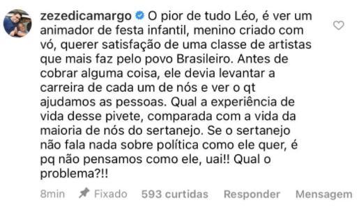 """Zezé Di Camargo detona Felipe Neto após confusão com sertanejos: \""""Pivete\"""""""
