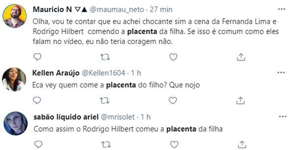 Fernanda Lima e Rodrigo Hilbert mostram vídeo comendo placenta da filha