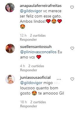 """Gil do Vigor troca declarações com affair em rede social: \""""Coisa linda\"""""""