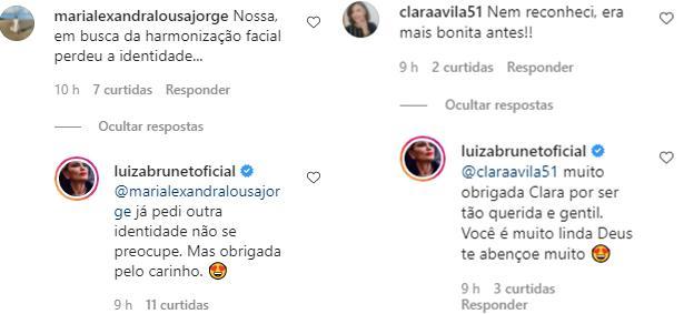 """Luiza Brunet ironiza críticas sobre mudança na aparência: \""""Pedi outra identidade\"""""""