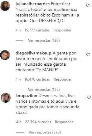 Raissa Barbosa se arrepende de vacinação contra Covid-19 após reação e chora na web