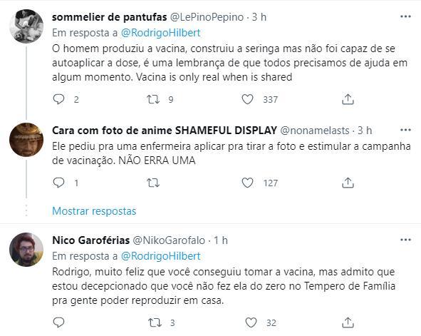 """Rodrigo Hilbert é vacinado contra Covid-19 e vira alvo de memes: \""""Produziu a vacina\"""""""