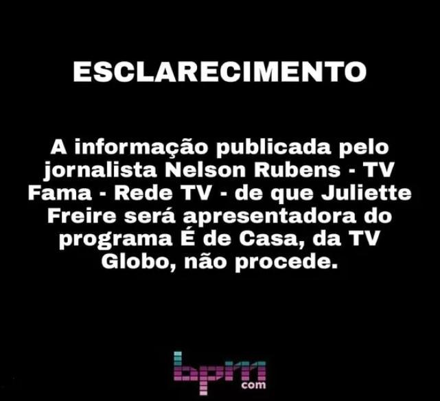 Globo se pronuncia sobre suposto contrato com a ex-BBB Juliette Freire