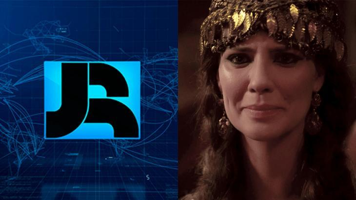 Logotipo do Jornal da Record (à esquerda) e cena de Gênesis (à direita) em foto montagem