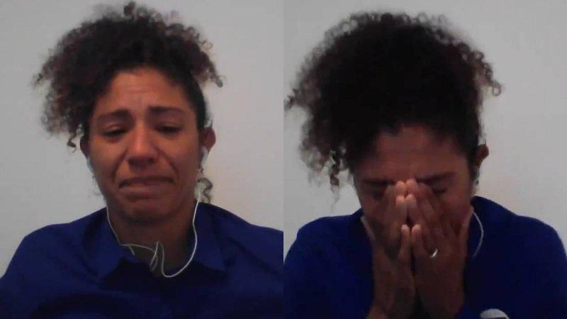 Cristiane Rozeira chorando na Globo
