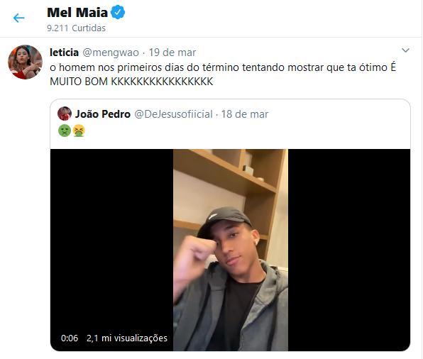 """Mel Maia curte postagem que fala do seu ex: \""""Mostrar que está ótimo\"""""""