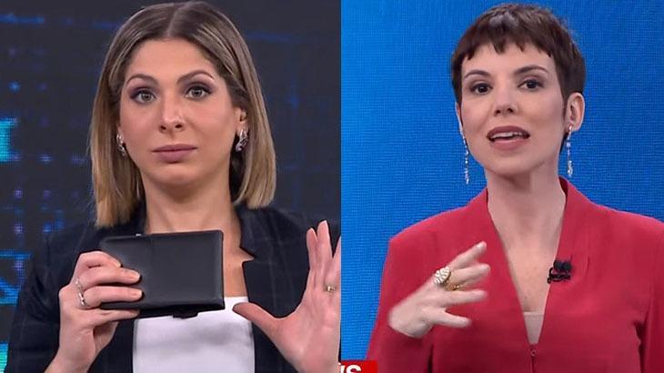 Daniela Lima segurando uma carteira; Gloria Vanique levantando a mão
