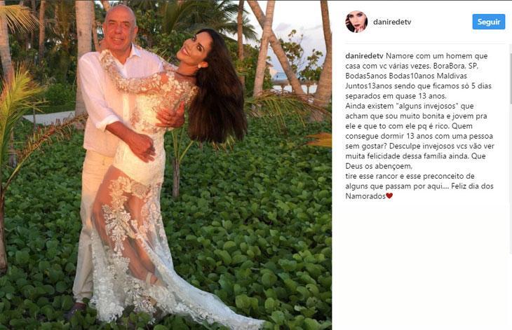 """Daniela Albuquerque comemora o Dia dos Namorados e diz: \""""acham que estou com ele porque é rico\"""""""