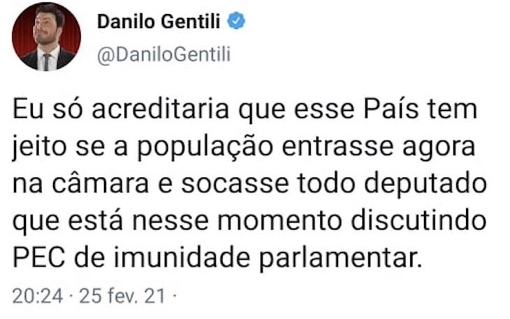 Câmara dos Deputados pede prisão de Danilo Gentili ao STF