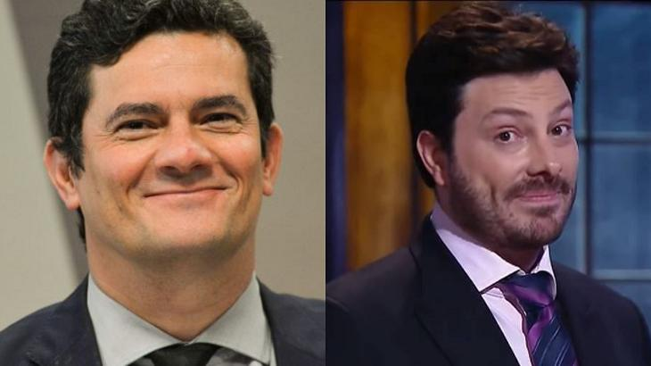 Danilo Gentili (à esquerda) e Sergio Moro (à direita) em foto montagem