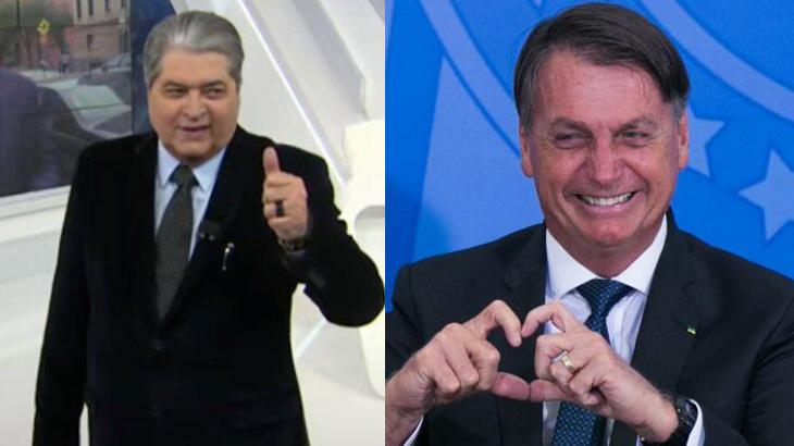Datena fazendo joinha; Bolsonaro sorrindo e fazendo coração com as mãos