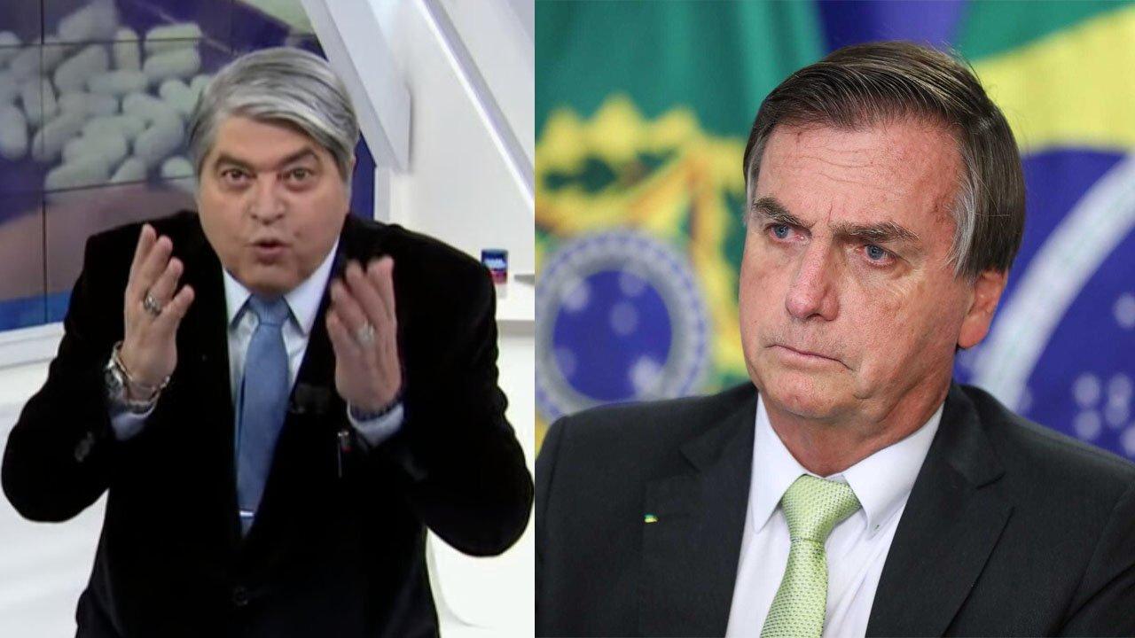 Datena irritado com as mãos na altura do rosto; Bolsonaro preocupado