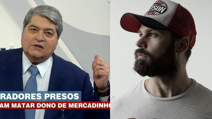 Datena com o dedo levantado durante o Brasil Urgente; Datena Júnior de perfil