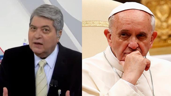Datena sério no Brasil Urgente; Papa Francisco com a mão no queixo