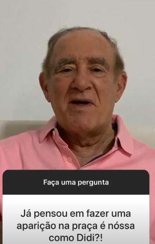 Renato Aragão revela desejo de participar de A Praça é Nossa e empolga Carlos Alberto