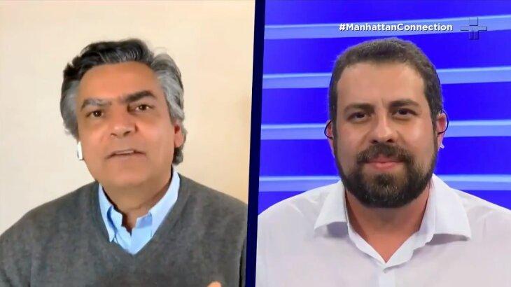 Tela dividida com Diogo Mainardi entrevistando Guilherme Boulos
