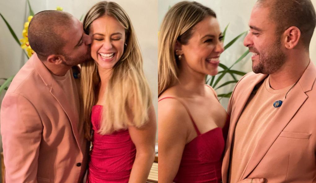 Montagem de Diogo Nogueira dando um beijo na bochecha de Paolla Oliveira e o novo casal, sorridente, olhando um para o outro