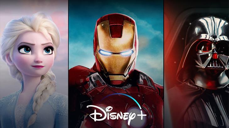 Logo do Disney+ com Frozen, Homem de Ferro e Darth Vader