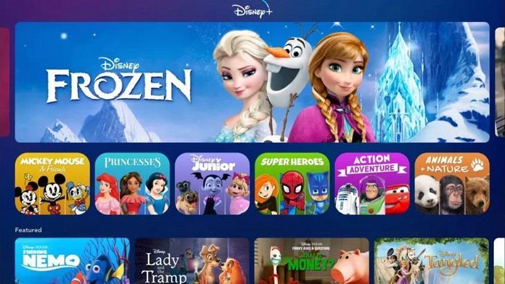 Página inicial do Disney+