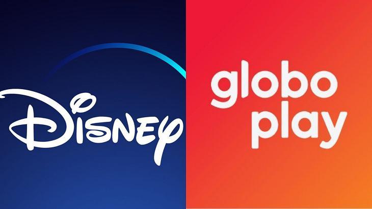 Foto montagem dos logotipos do Globoplay e Disney+