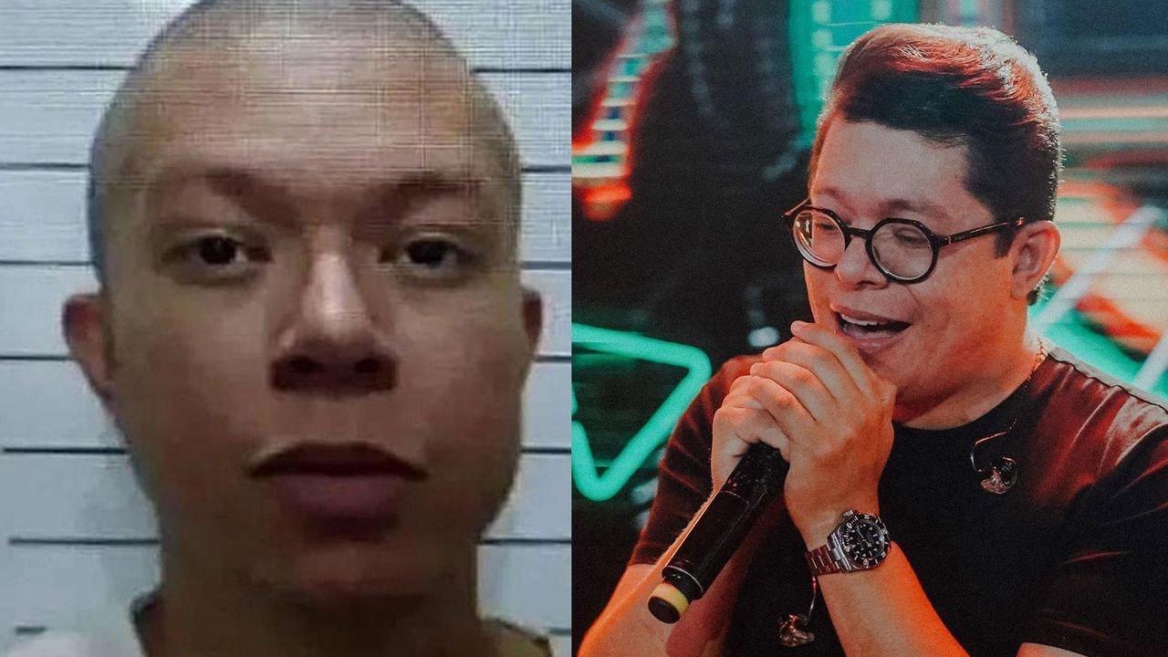 DJ Ivis careca, após ser preso; DJ Ivis com microfone em show