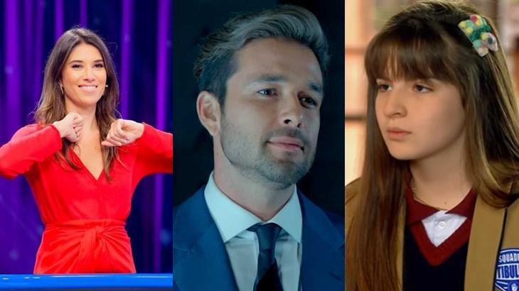 Rebeca Abravanel no Roda a Roda, Sérgio Marone em cena na novela Apocalipse, e Sophia Valverde em cena na novela As Aventuras de Poliana