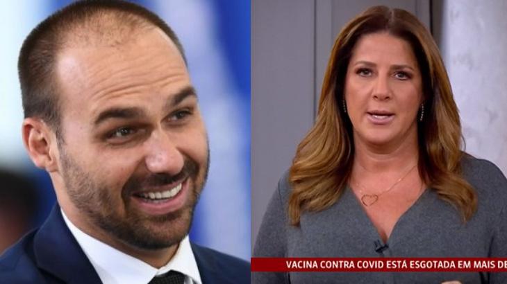 Eduardo Bolsonaro rindo; Christiane Pelajo apresentando noticiário da Globo News