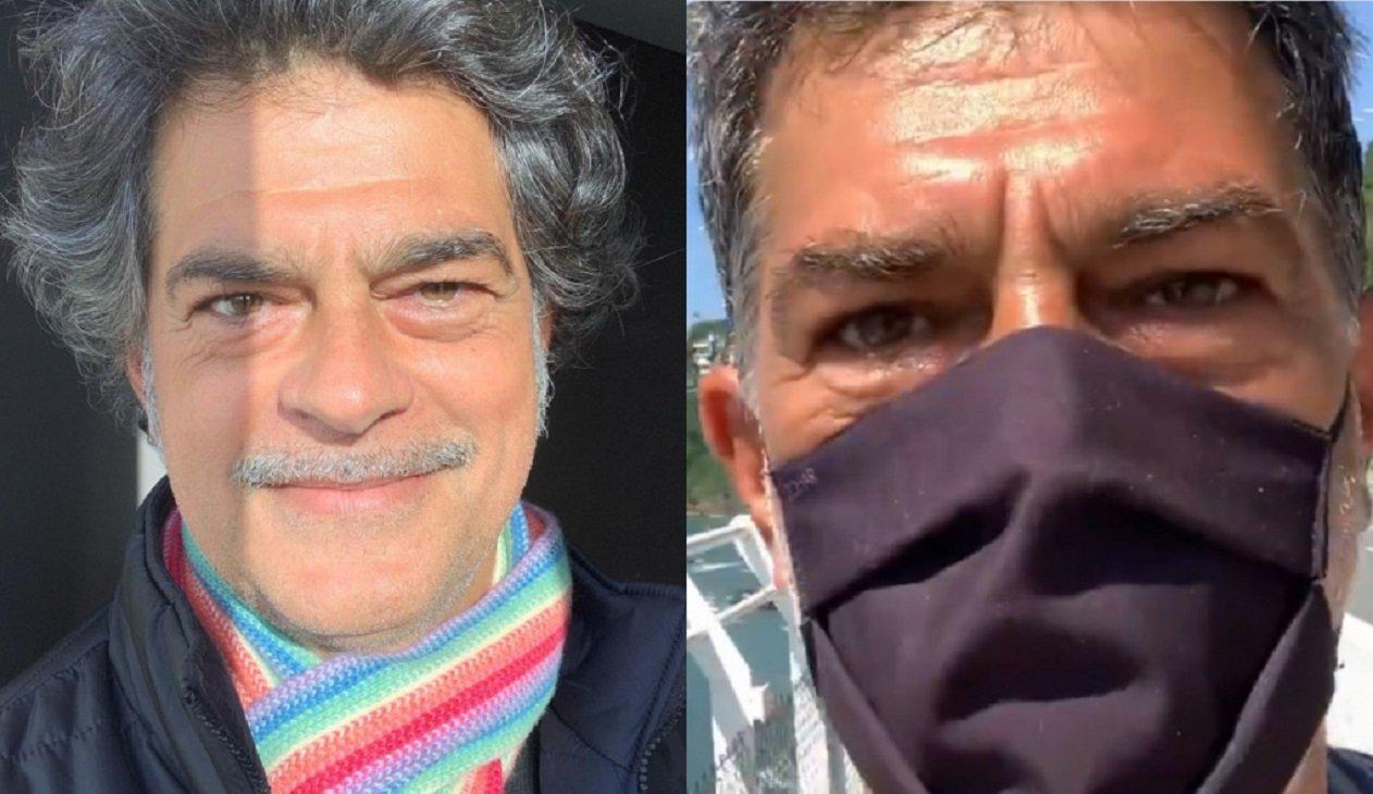 Montagem de fotos de Eduardo Moscovis de bigode e com uma máscara preta