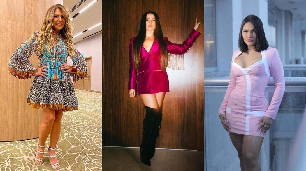 A cantora Elba Ramalho com a mão na cintura, Juliette de vestido rosa e botas pretas e a ex-BBBFlay posa com um vestido de manga longa rosa claro