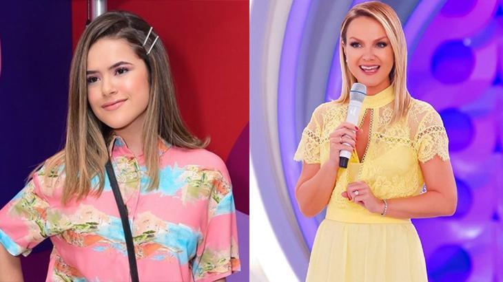 Montagem com as apresentadoras Maisa, à esquerda, e Eliana, à direita, no palco do SBT