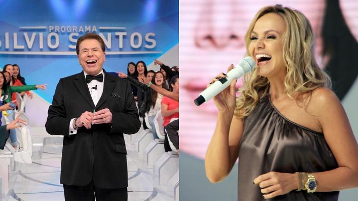 Eliana e Silvio Santos rindo em foto montagem
