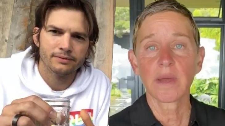O ator Ashton Kutcher e a apresentadora Ellen DeGeneres