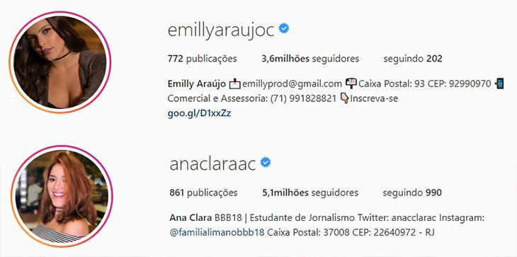 """Emilly alfineta Ana Clara por ter mais seguidores que ela no Instagram: \""""os meus são reais\"""""""
