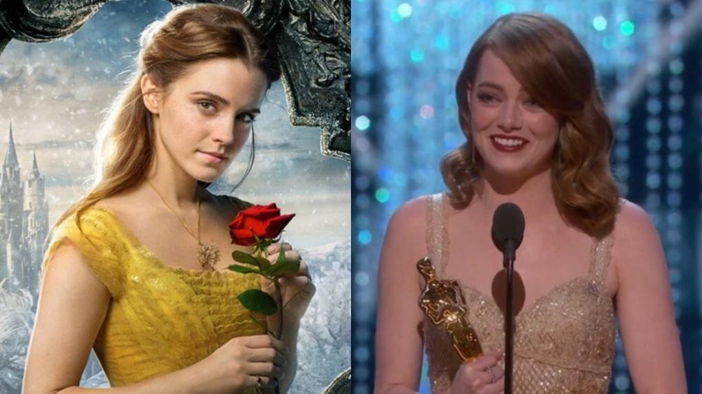 Emma Watson em A Bela e a Fera; Emma Stone recebendo Oscar por seu papel em La La Land
