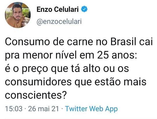 """Enzo Celulari questiona se queda no consumo de carne é por \""""consciência\"""" e acaba detonado"""