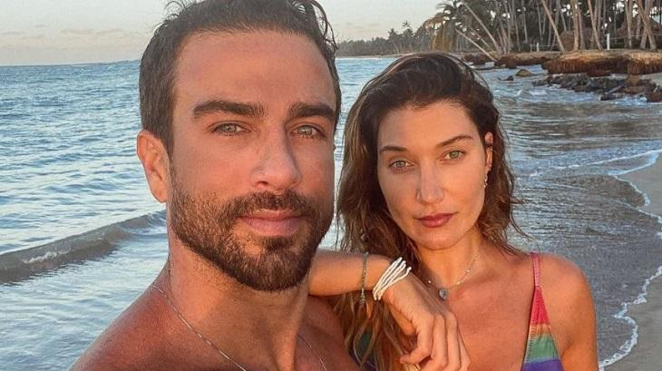 Gabriela Pugliesi e Erasmo Viana juntos na praia