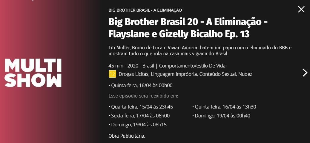 """BBB20: Globo comete gafe e \""""elimina\"""" Gizelly antes da hora na programação"""