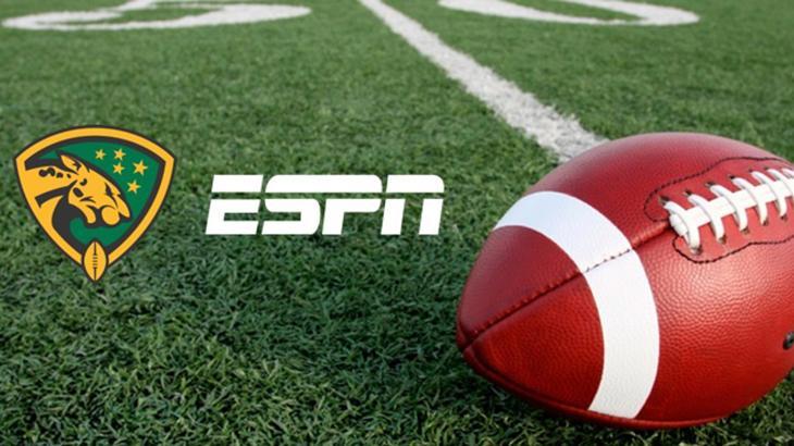 Logo da ESPN, Liga BFA e bola de futebol americano