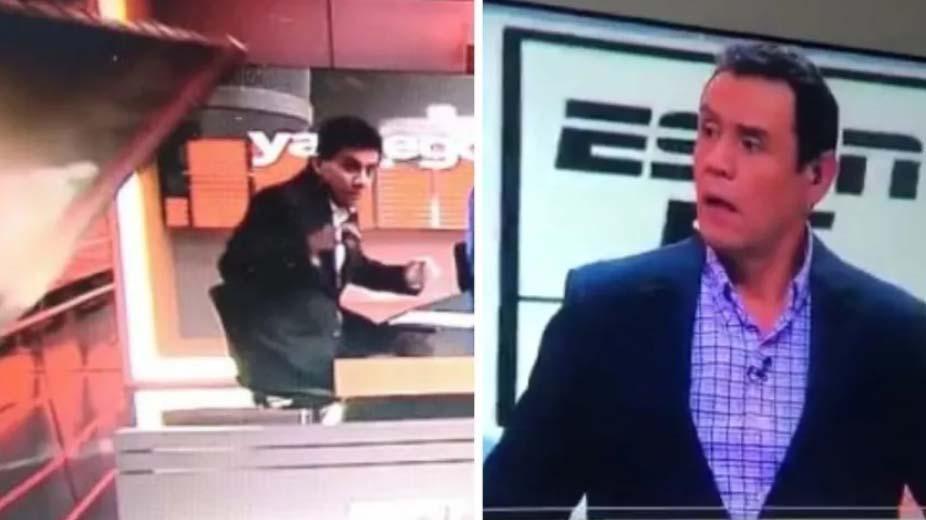Momento do acidente na ESPN Colômbia