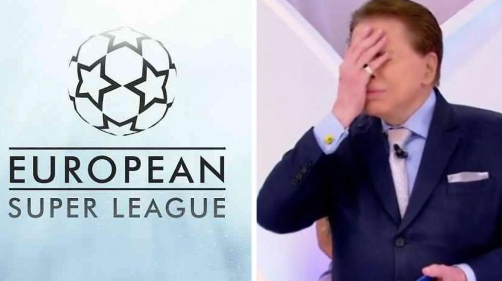 Logo da Superliga da Europa e Silvio Santos com a mão na cara