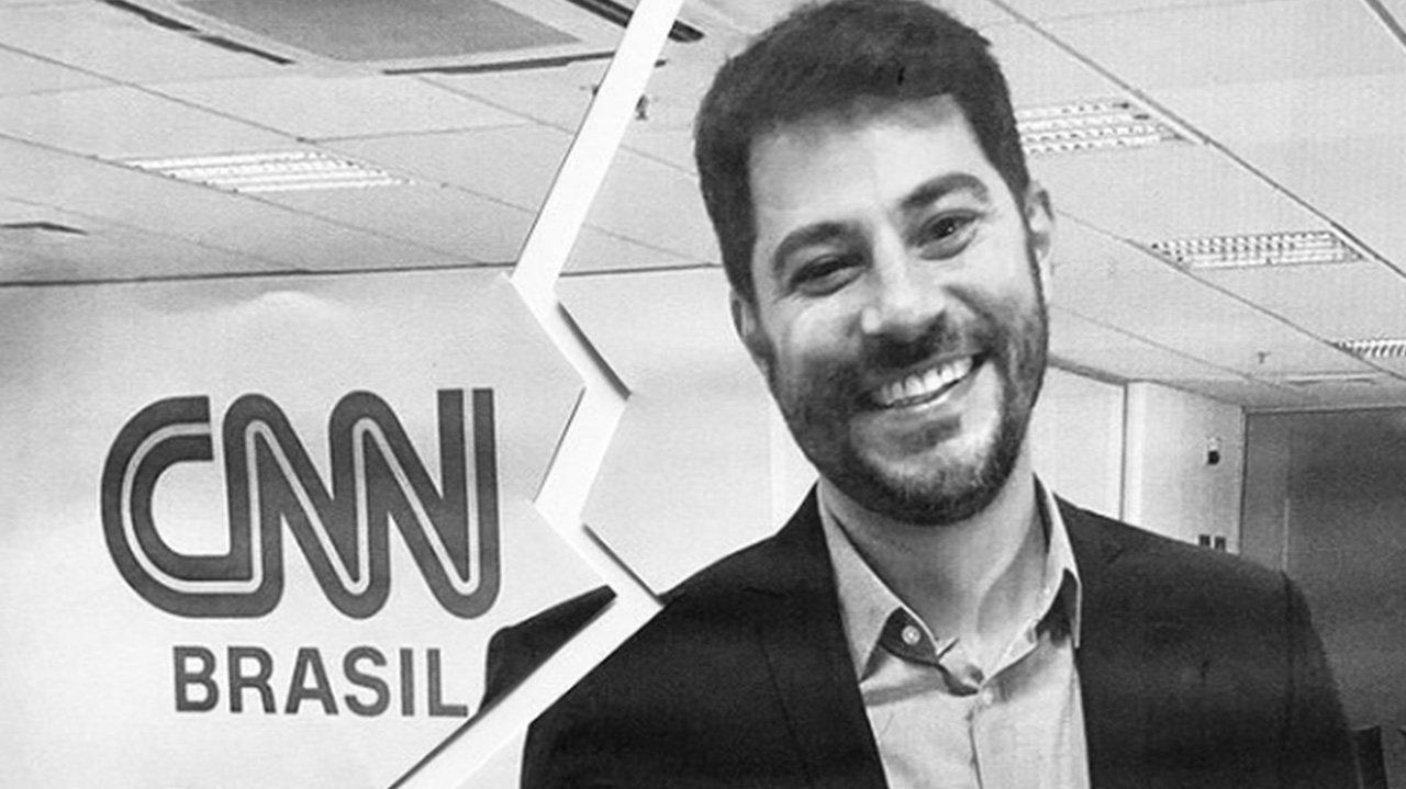 Montagem em preto e branco de Evaristo sorridente ao lado da logo da CNN Brasil