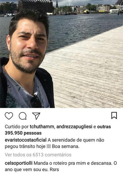"""Celso Portiolli comenta em foto de Evaristo Costa na Holanda: \""""ano que vem sou eu\"""""""