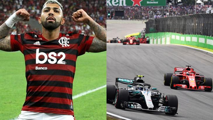 Gabigol (à esquerda) e corrida de Fórmula 1 (à direita) em foto montagem