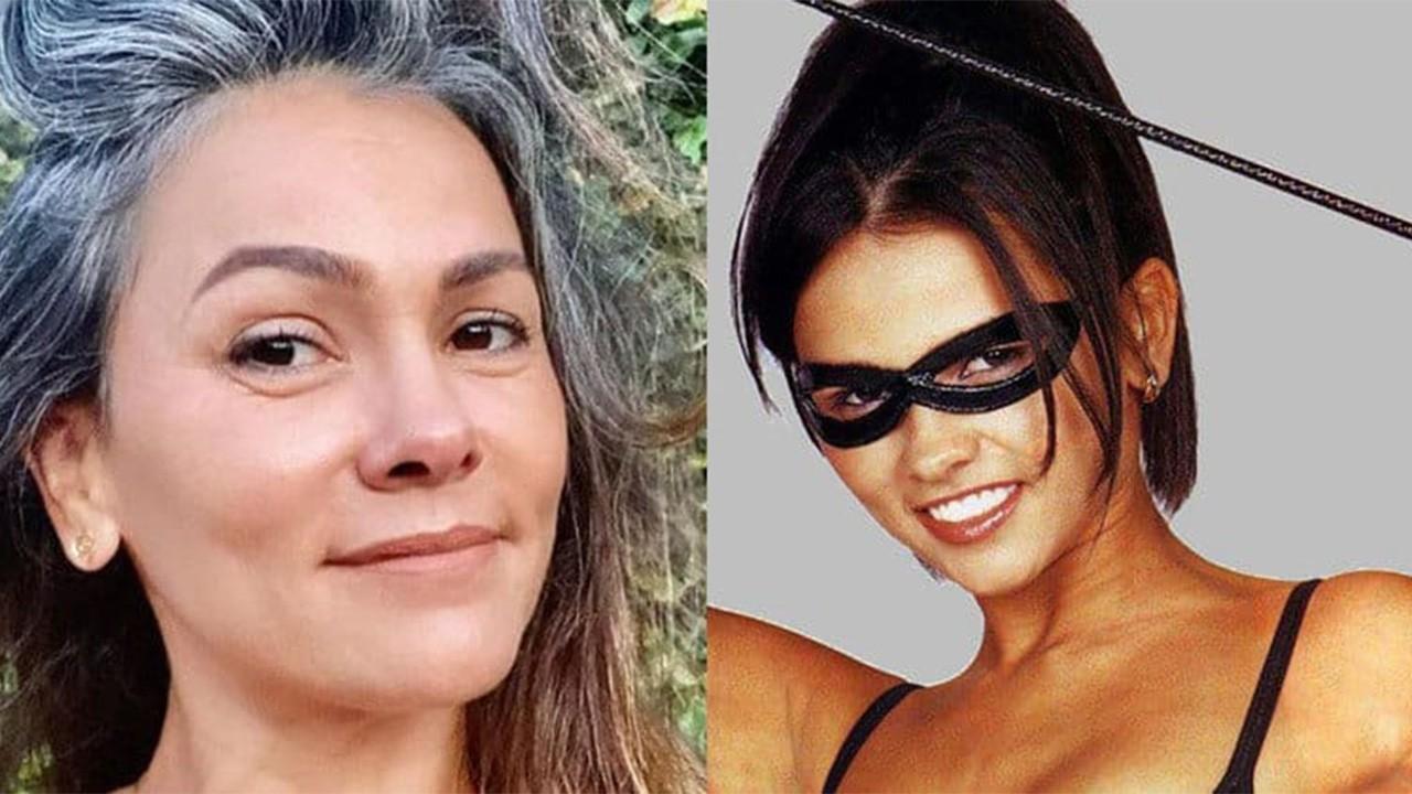 Suzana Alvez atualmente posada para foto; Suzana Alvez como Tiazinha, com máscara e chicote na mão
