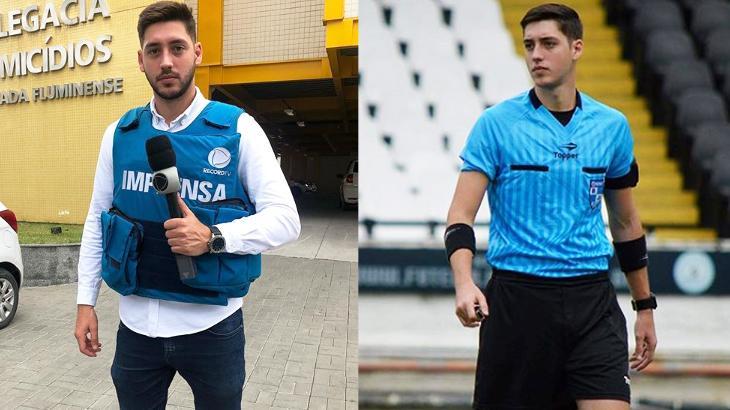 Fábio Peixoto como repórter e árbitro de futebol