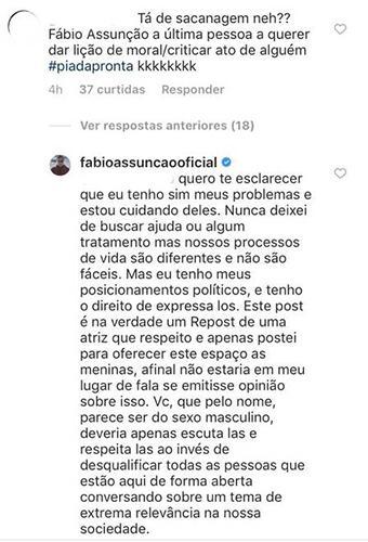 """Fábio Assunção compartilha post criticando machismo e ouve: \""""o último a querer dar lição de moral\"""""""