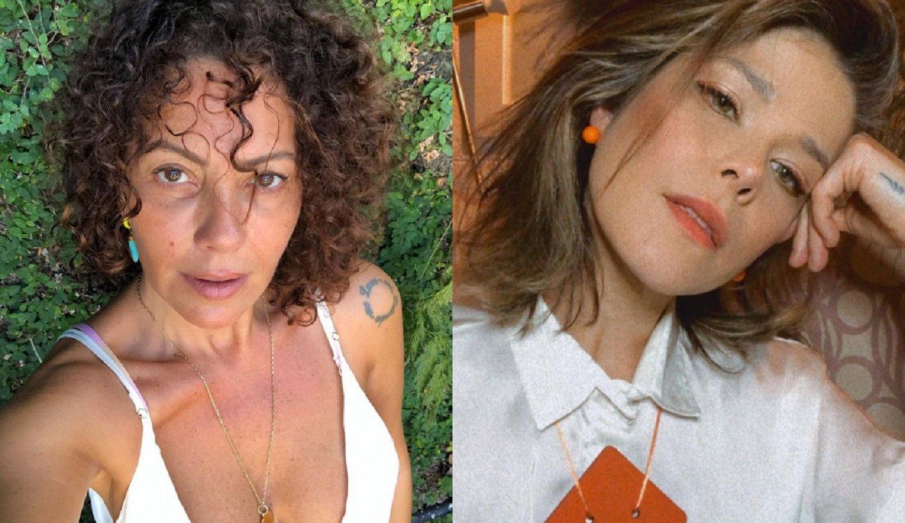 Montagem de selfies das atrizes Fabíula Nascimento e Samara Felippo sérias