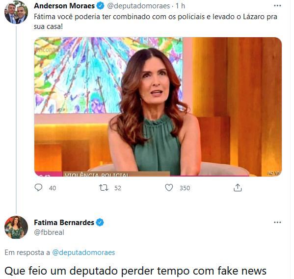 Fátima Bernardes é vítima de fake news de deputado bolsonarista sobre caso Lázaro